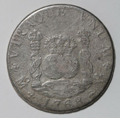 Rare 1768 Spanish Milled Pillar 8 Reales Silver Coin Charles III Mexico City