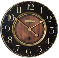 Luxe Dark Classic Brass Wall Clock Wood Look 23  | Retro Vintage Style Round