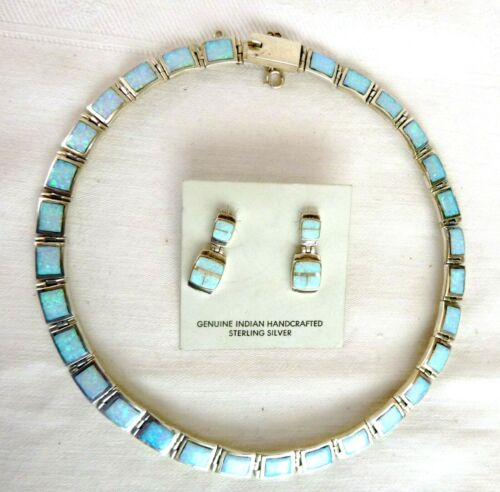Signed Navajo Calvin Begay Inlaid Opal Necklace Earrings Set Sterling Silver