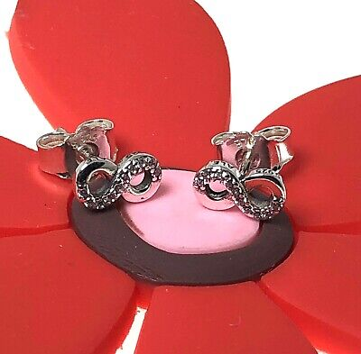Genuine Authentic Pandora Infinity Love Stud Earrings With a Pop- Up Box