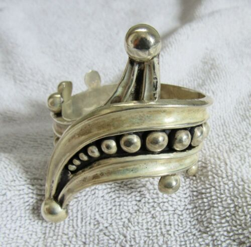 Sterling Silver Mexican Mexico Jalil Ballesteros Hinged Bracelet Conquistador