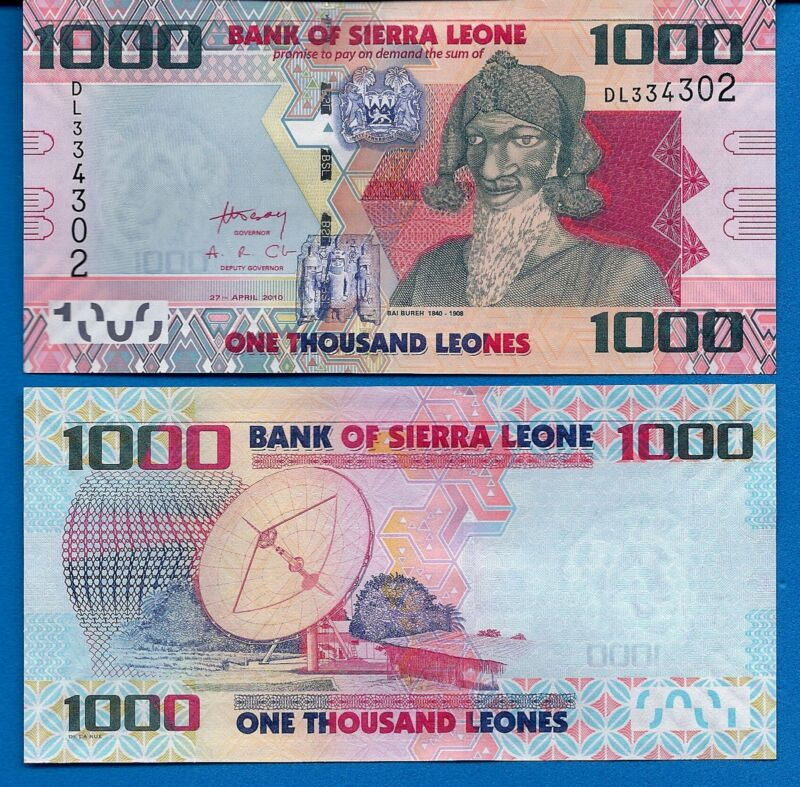 Sierra Leone P-30 1000 Leones Year 2010 Uncirculated Banknote Africa