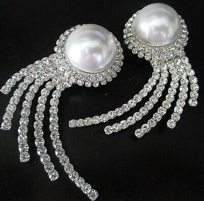 "ALESSANDRA RICH Authentic 3.5"" Blinding Ice Crystal Pearl Clip Runway Earrings"