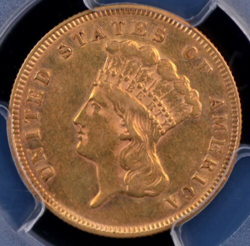 1878 $3 GOLD INDIAN PRINCESS PCGS AU53 NICE LUSTER AND MINIMAL WEAR TRULY SCARCE