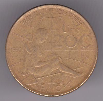 Italy 200 Lire 1980 Aluminum-Bronze Coin - FAO  International Women's Year