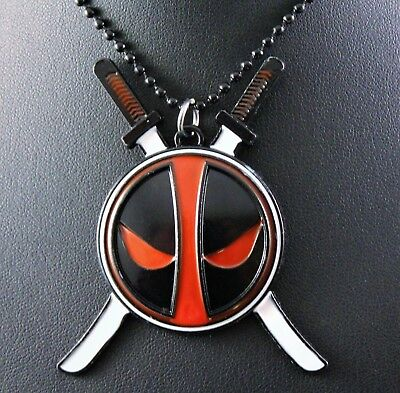 Alloy Marvel DEADPOOL Pendant Chain/Necklace w/Free Jewelry Box and Shipping