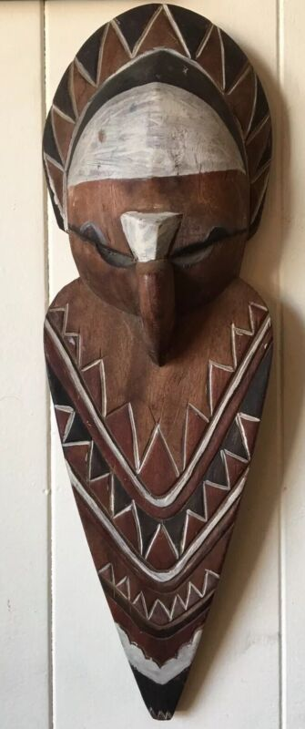 Polychrome Hand Carved Owl Effigy Kachina Wall Plaque Wood Totem Native American