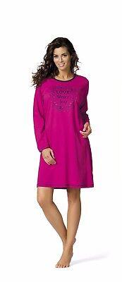 Comtessa night+day Single Jersey Langarm Nachthemd Nachtkleid aqua, fuchsia NEU ()