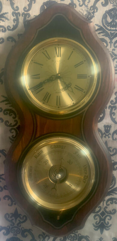 Beautiful Wooden - Bulova Quartz Wall Clock  with Bulova Weather Station
