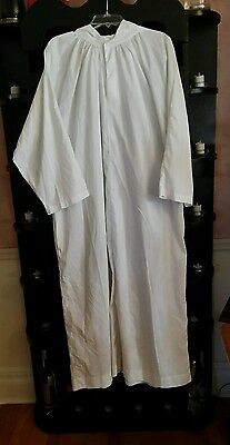 YOUTH ALTAR SERVER ALB WHITE W/HOOD ABBEY BRAND SIZE 12 LENGTH 48""
