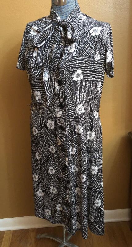Women's Vintage Sears Dress Black White Floral Pinup Tie Neck M Rockabilly