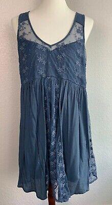 Abercrombie & Fitch Lace Dress sz Large A&F floral Dark blue juniors