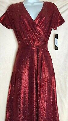 LULAROE 2019 ELEGANT NOELLE Faux WRAP DRESS 3XL XXXL GLITTER RED Sparkle NWT