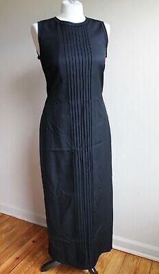 Maria Calderara II Black 100% Wool Sleeveless Raw Edge Pleat Front Maxi Dress