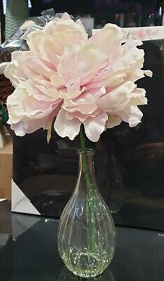 Artificial Pink Silk Flower Arrangement in Glass Vase Valentines Day Mothers -