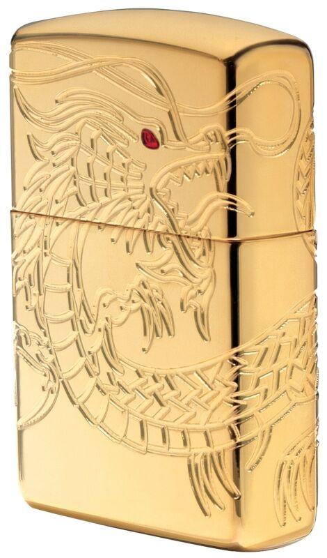 Zippo Armor Gold Plate Asian Dragon Windproof Pocket Lighter, 29265