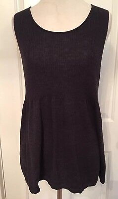 EILEEN FISHER sweater DARK GRAY Scoop Neck SLEEVELESS KNIT TOP Baby Doll SMALL Scoop Baby Doll