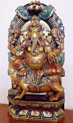 RELIGIOUS EDH Ganesha Sculpture Ganesh Ganapati Statue Temple Figurine Idol