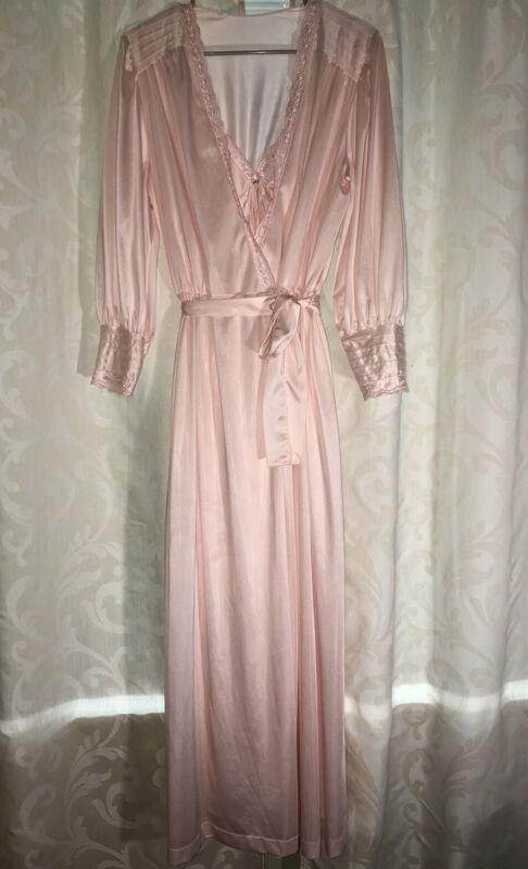 Vtg Lorraine Antron Nylon Pale Pink Peignoir Nightgown Robe Negligee Set Size M