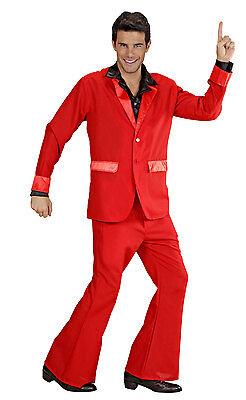 Herren 70s Kostüm Rot Anzug Jacke & Hose Kostüm 1970s Disco Party - 1970's Party Kostüm