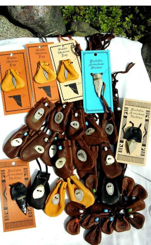 GROUP LOT MEDICINE BAGS Pouches Leather Pendants 2247