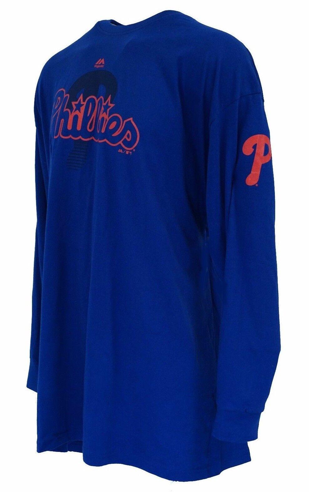 Philadelphia Phillies MLB Majestic Blue Long Sleeve T Shirt,