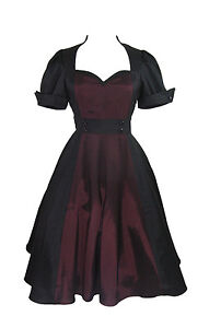 Plus size Retro Vintage 60's Queen of Hearts Two Tone Black Burgundy Satin Dress
