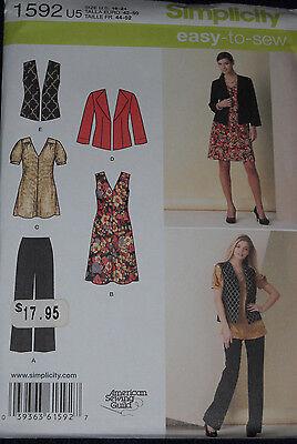 Dress Tunic Pants Jacket Vest Misses size 16-24  Simplicity 1592 Sewing Pattern*