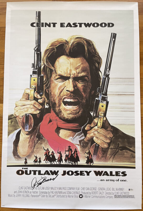 CLINT EASTWOOD SIGNED THE OUTLAW JOSEY WALES 24x36 MOVIE POSTER BAS LOA #A67471