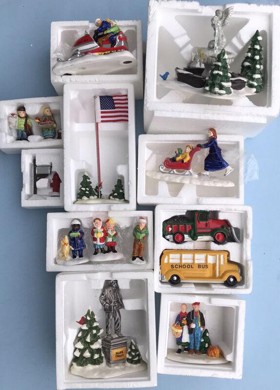 10 Dept 56 Snow Village Accessories Figures School Bus Snow Plow Sno-Jet Mobile