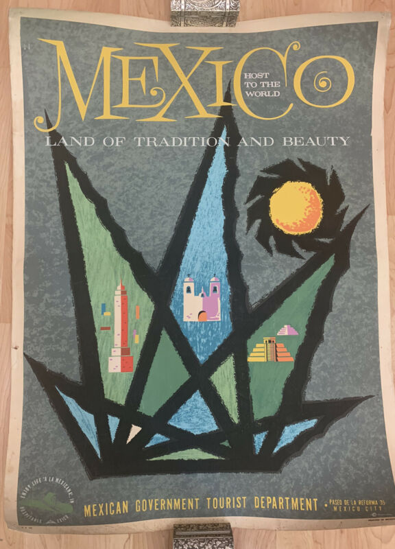 Vtg Original Mid Century Mexico Travel Poster ~ Mexican Government Tourist Dept