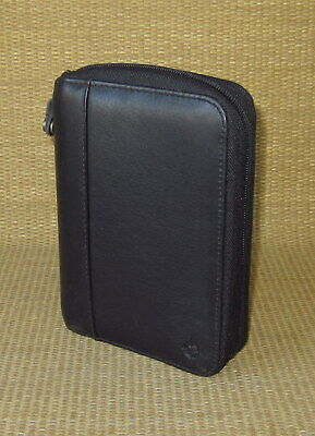Pocket Franklin Covey Black Leather Spacemaker 1 Rings Zip Plannerbinder