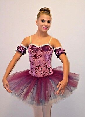 Cameo Short ROSE Dance Costume Ballet Powderpuff Tutu w/ Drop Sleeves AS CL & CM](Powder Puff Girls Costumes)