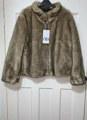 ZARA NEW WOMEN SHORT FAUX FUR JACKET NATURAL SIZE XL BNWT