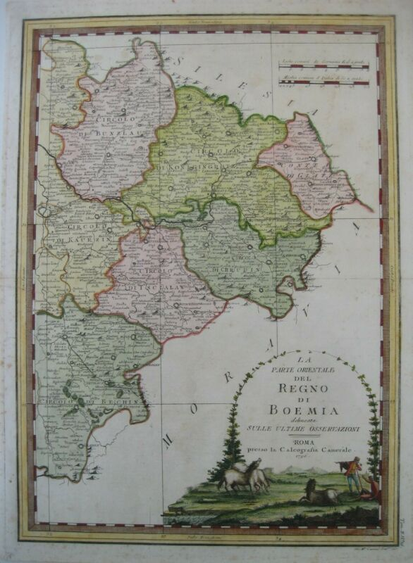 Original 1796 Cassini Map KINGDOM OF BOHEMIA Eastern Part Prague Elbe River