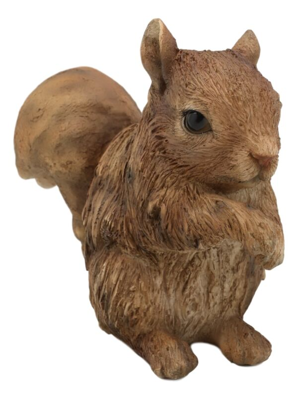 Realistic Faux Driftwood Finish Design Standing Chipmunk Squirrel Resin Statue