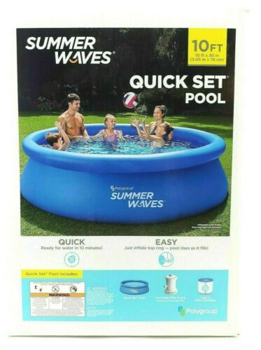 *NEW* Summer Waves 10 ft X 30 in Quick Set Inflatable Pool With Filter Pump