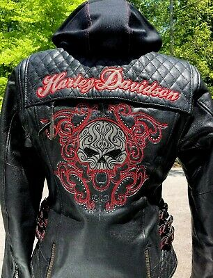 NWT Harley Davidson SCROLL 3N1 Willie G Skull Leather Jacket Women's Small
