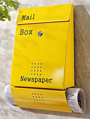 Briefkasten Gelb Postbox Mailbox  Metall rostfrei Zeitungsfach Wandbriefkasten online kaufen