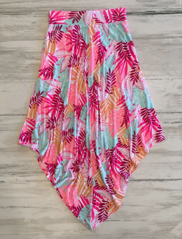 Girls Cat & Jack Tropical Print Long Uneven/Scarf Hem Skirt, Sz L(10/12) Summer