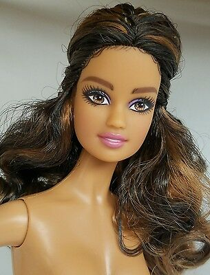 NUDE BRUNETTE HIGHLIGHTS HAZEL EYES~ MATTEL QUINCEAÑERA BARBIE DOLL LATINA MUSE
