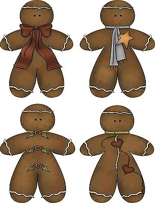 Paper Gingerbread Man (Gingerbread Man stickers on glossy paper set of 12 scrapbooking)