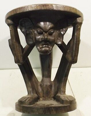 Primitive Solid Wood Side Table / Stool/Chair with Carved Sculpture Warrior