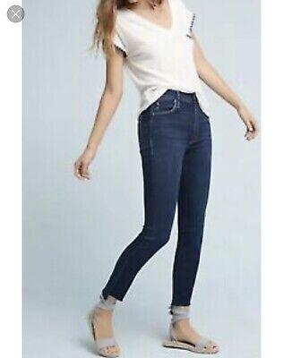 Fray Denim Jeans (Mother Jeans Stunner Zip Ankle Step Fray After Hours Size 29 Dark Denim)
