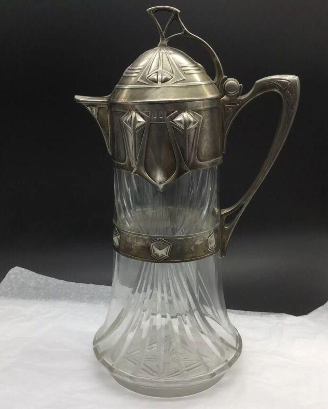 Jugendstil Pewter Art Nouveau Antique Vintage Glass Liner Pitcher Jug