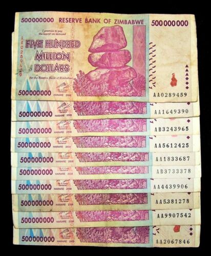 10 x Zimbabwe 500 million Dollar banknotes-circulated-2008/AA or AB currency
