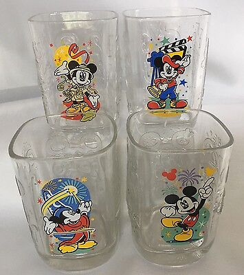 4 Disney World McDonalds Mickey Mouse Millenium Glass Drinking 2000 Complete Set