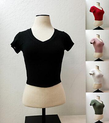Women Basic Plain Ribbed V-Neck Short Sleeve Stretch Crop Top Shirt RT52610