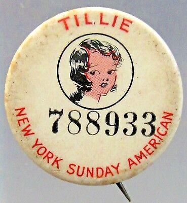 1930's Russ Westover's TILLIE N.Y. Sunday American comic pinback button ^