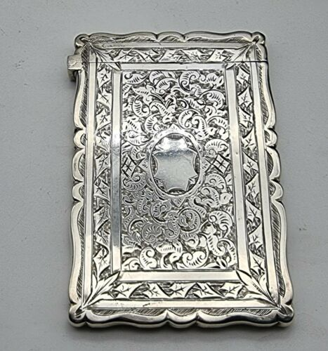 NICE GOOD CONDITION ANTIQUE STERLING SILVER CARD CASE BIRMINGHAM 1881